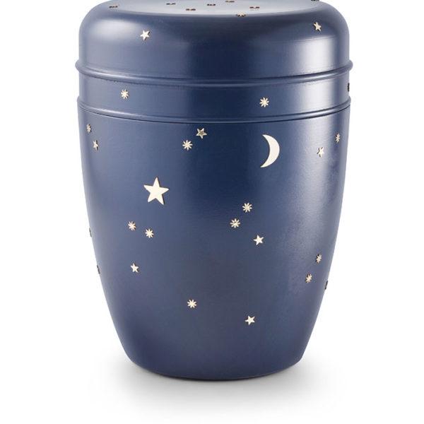 Wateroplosbare urn blauw met sterrenmotief