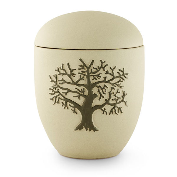 keramische urn zandkleurig met boom (17)