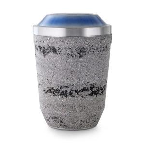 stalen urn met steen look grijs/blauw (174)