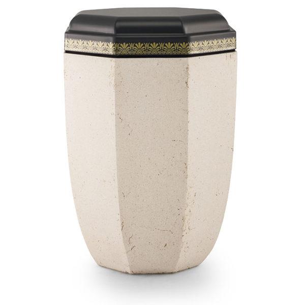 stalen urn in steen look creme/zwart