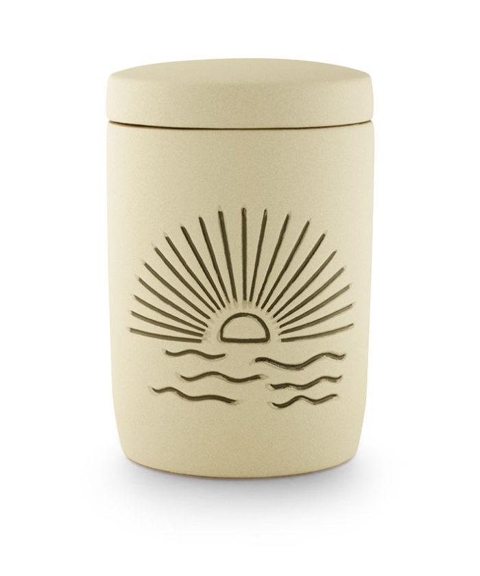 keramische urn zandkleurig zonsondergang (19zon)
