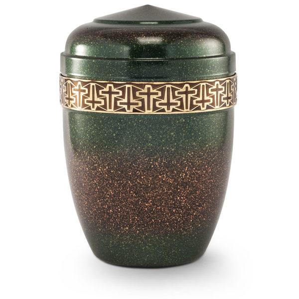 stalen urn brons bruin/groen gepatineerd (203/13)
