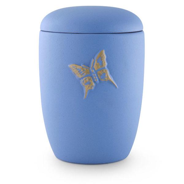 keramische urn blauw met vlinder erop (21)