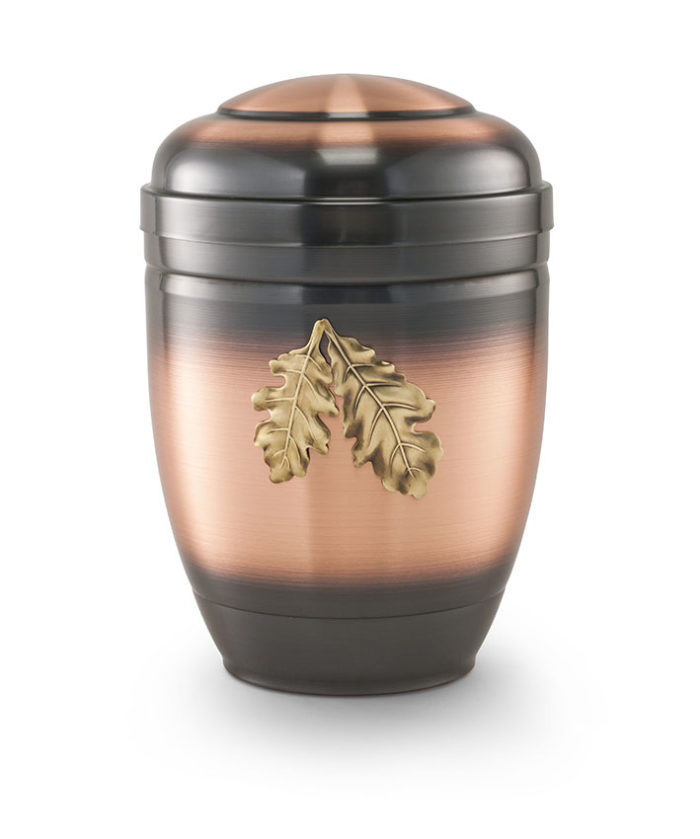Koperen urn, galvanisch geverfde urn met eikenbladeren(5049aku)