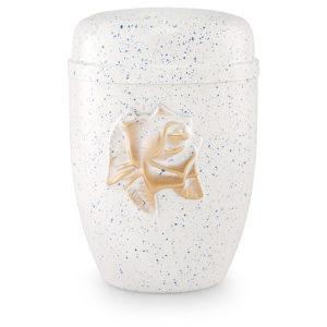 Stalen urn, wit/blauw belegd met roos versiering (5442wb)