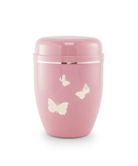 Stalen urn, roze met vlinders (560411s)