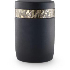 keramische urn zijdeglans zwart met messing ring (60)