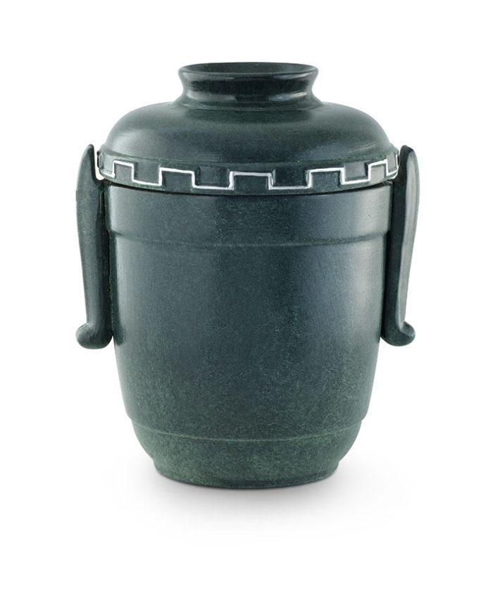 keramische urn groen gepatineerd draagkruik model (73)
