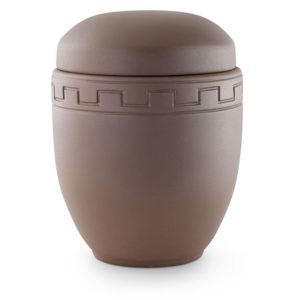 keramische urn aardebruin met blok versiering ( mabruin )