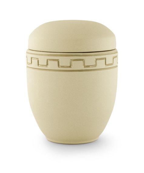 keramische urn zandkleur met blokversiering (mazand)