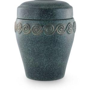 keramische urn groen met sierkrullen ( 9 )