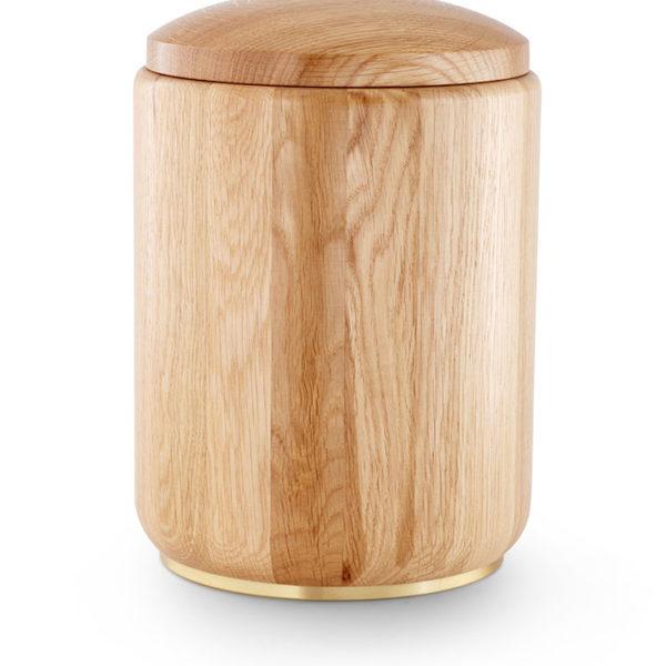 eikenhouten urn met sokkel (950b)