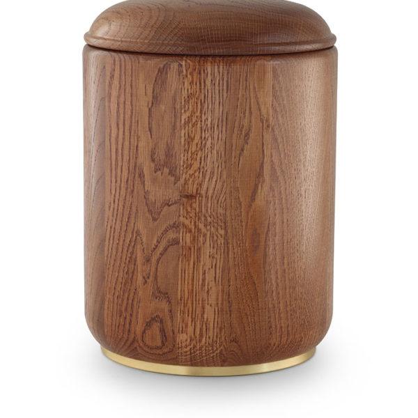 rustiek eikenhouten urn met sokkel (950a)