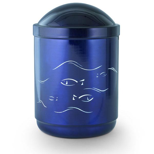 stalen urn met vis motief kobalt blauw (213)